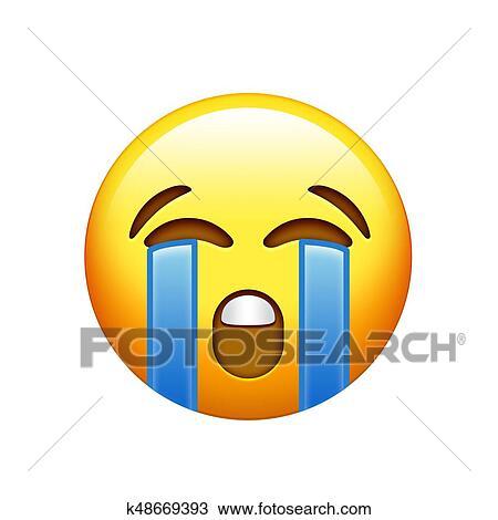 Emoji jaune triste figure pleurer larme ic ne dessin k48669393 fotosearch - Dessins triste ...