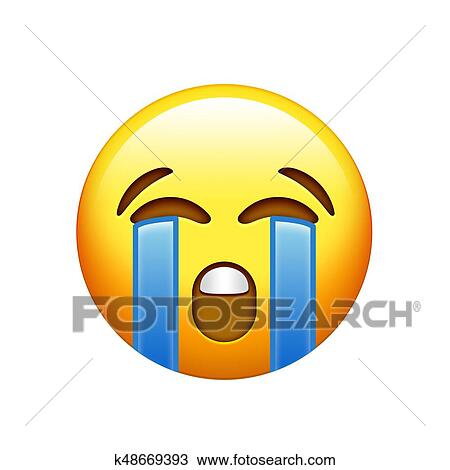 Drawing - Emoji yellow sad face with crying tear icon. Fotosearch - Search Clipart,