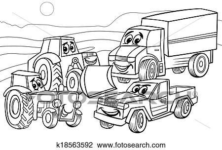 Fahrzeuge Maschinen Karikatur Farbung Seite Clipart