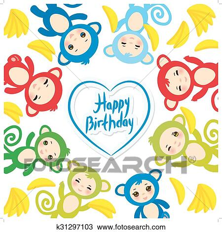 Clipart Of Happy Birthday Card Template Funny Green Blue Pink