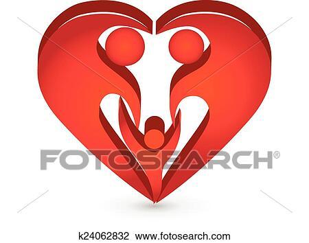 Clipart Of Heart Family Shape Symbol Logo K24062832 Search Clip