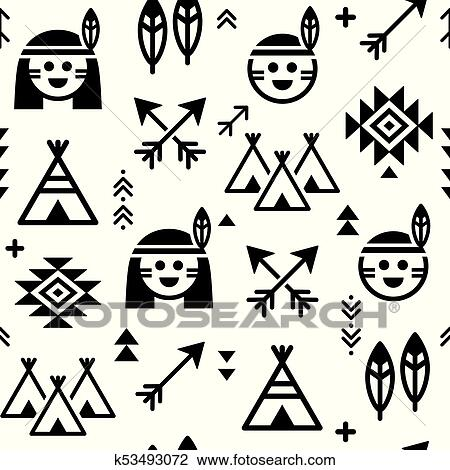 Clipart Of Indian Vector Seamless Pattern For Boys And Girls Native