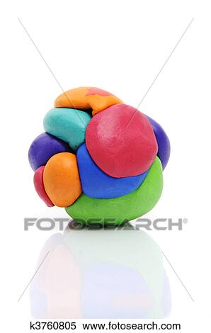 A Modelling Clay Ball Of Different Colors Isolated On White Background