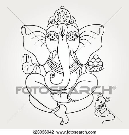 seigneur ganesha main dessiné illustration clipart