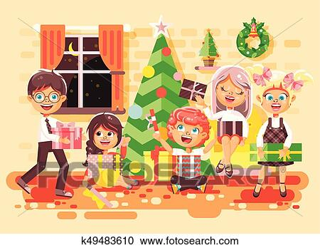 Christmas Celebration Cartoon Images.Vector Illustration Cartoon Characters Children Boys And Girls In Room Under Christmas Tree Happy New Year And Christmas Give Gifts Rejoice And
