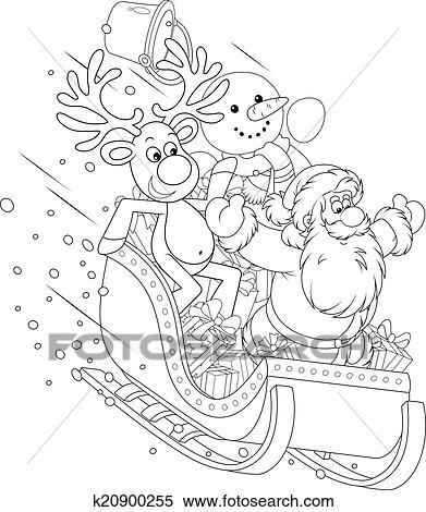 Clipart - weihnachtsmänner, rentier, und, schneemann k20900255 ...