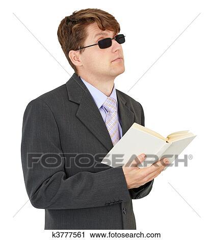 أعمى, الرجل الشاب., ب, سجل, عزل عزل, على أبيض, الخلفية ألبوم الصور |  k3777561 | Fotosearch