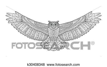 Clip Art Adler Owl Färbung Page Ethnisch Nachgebildet