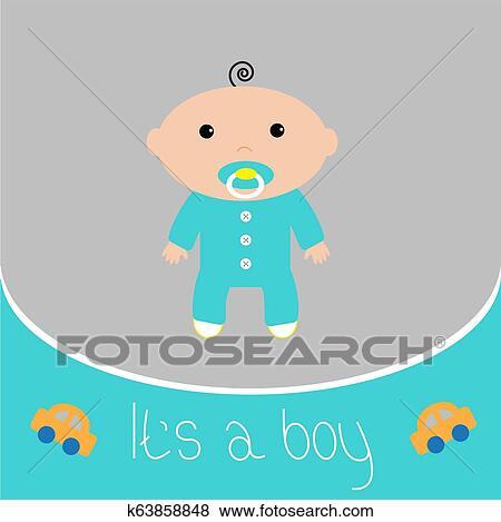 Baby Shower Card It S A Boy Flat Design Style Clip Art K63858848 Fotosearch