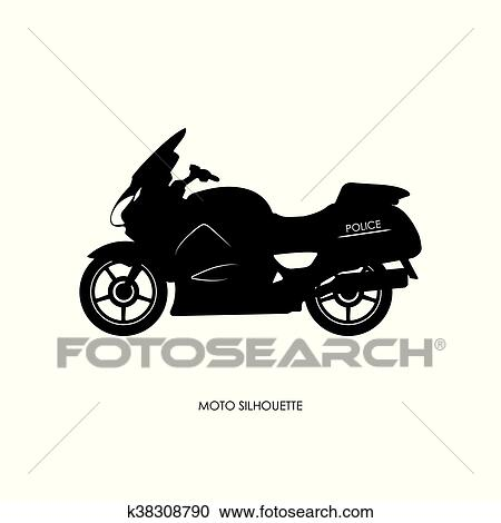 Black Silhouette Of A Police Motorcycle Clipart K38308790 Fotosearch
