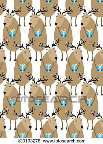 Clip Art of Christmas Reindeer with gifts seamless pattern. Horny ...