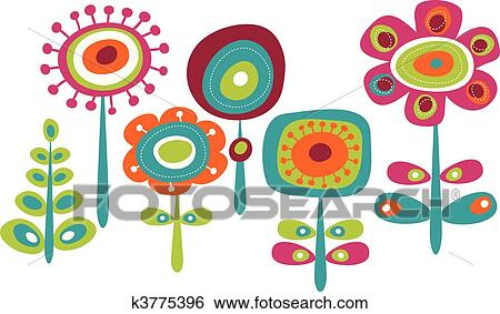 clip art of cute colorful flowers k3775396 search clipart rh fotosearch com colorful clip art lettering colorful clip art of baton twirler