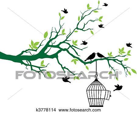 Clipart Frühling Baum Mit Vogelkäfig Und Vögel K3778114