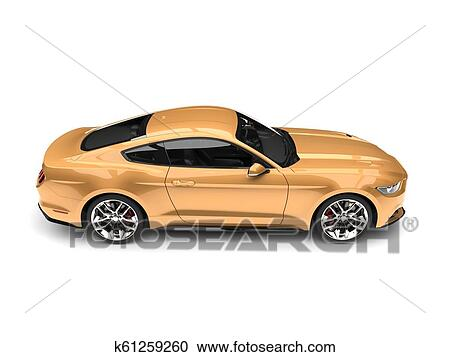 Stock Illustrations Of Golden Modern Sports Muscle Car Top Down