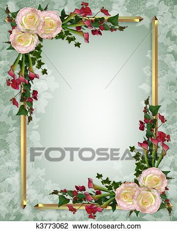 Clip Art Hochzeitskarten Elegante Blumen K3773062 Suche