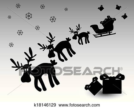 clip art schwarz wei weihnachten rentier mit geschenke eps10 k18146129 suche clipart. Black Bedroom Furniture Sets. Home Design Ideas