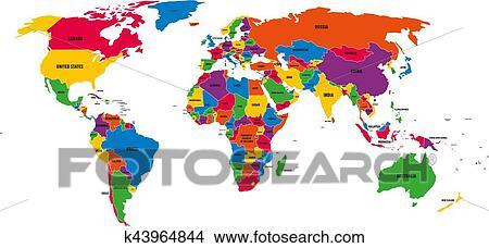 Multicolor Politico Vector Mapa Mundo Con Nacional Fronteras