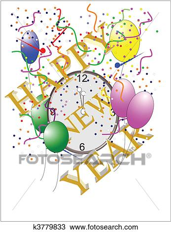 Clipart of new years clock on white k3779833 - Search Clip Art ...