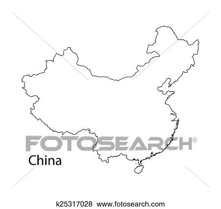 Clip Art of outline map of China k25317028 - Search Clipart ...