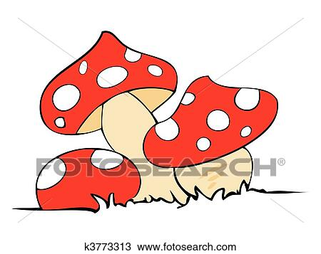 clipart of red poison mushrooms k3773313 search clip art rh fotosearch com mushroom clip art drawing mushroom clip art free