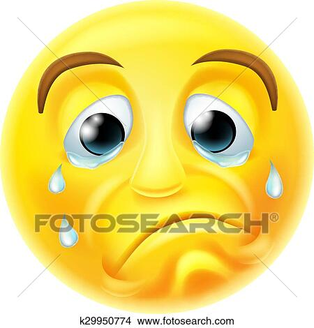 A Sad Crying Emoji Emoticon Smiley Face Character With Tears Streaming Down His