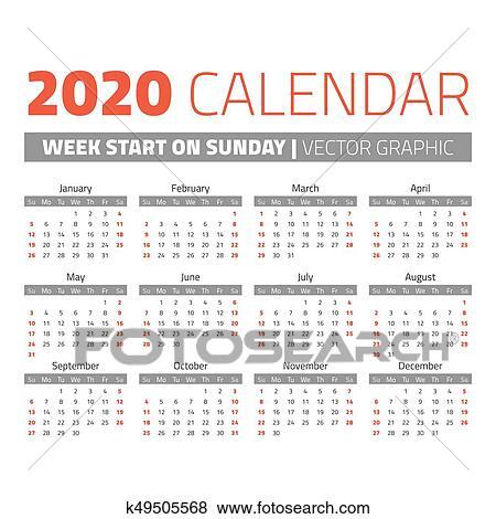 Calendario Anno 2020.Semplice 2020 Anno Calendario Clip Art