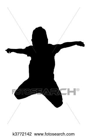 Clip Art Silhouette Of Boy Jumping Up In The Air Fotosearch Search Clipart