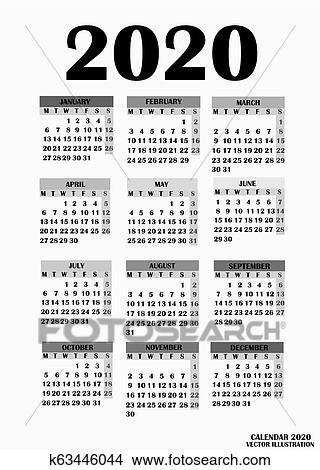 Calendario 2020 Semanas.Calendario 2020 Semanas