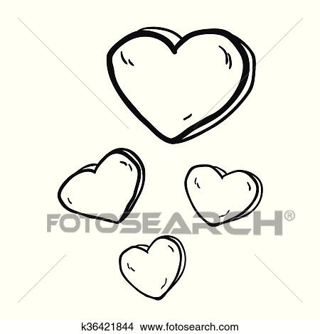 Clipart Simple Noir Blanc Freehand Dessine Dessin Anime Cœurs