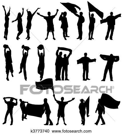 Sport Fans Silhouetten Clipart K3773740 Fotosearch