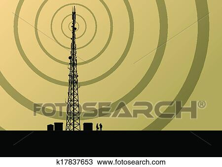 Telecommunications mobile phone base station radio tower with engineers in  industrial concept background vector Clipart