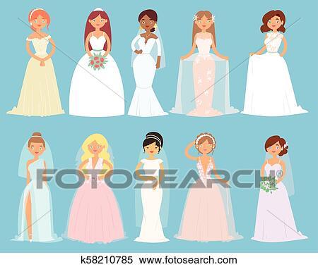 Wedding Dresses Clipart Wedding dress clip art vectors | Etsy