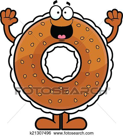 clip art of cartoon bagel happy k21307496 search clipart rh fotosearch com bagel clip art with quotes bagel clipart free