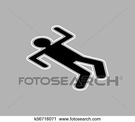 Chalk silhouette corpse  Crime scene  Chalk outline of dead body  Vector  illustration  Clipart
