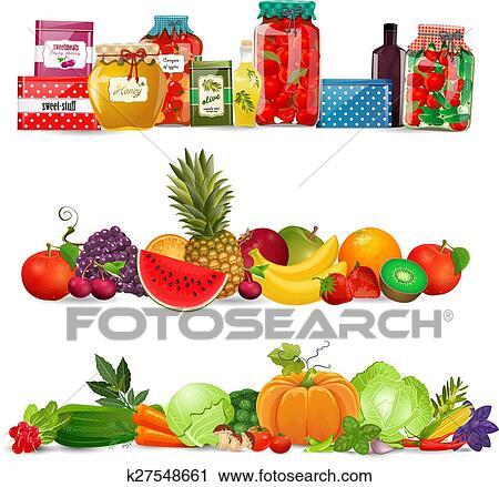 clipart collection fronti res conserve nourriture l gumes fruits autum k27548661. Black Bedroom Furniture Sets. Home Design Ideas