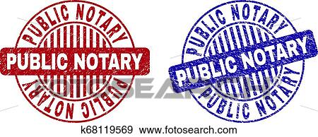 Grunge Public Notary Textured Round Stamp Seals Clip Art