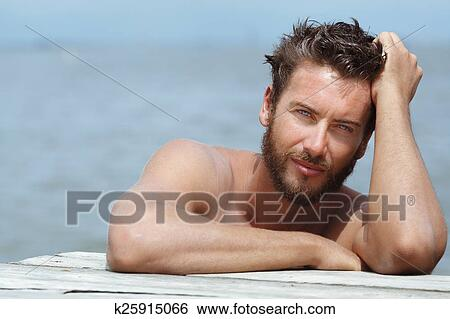 Stock Images Of Handsome Man With No Shirt At The Sea K25915066