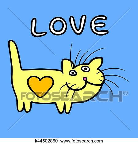 Heart Cat On Valentine S Day Vector Illustration Clipart K44502860 Fotosearch