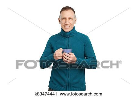 Lächeln, durchschnitt, alter, mann, in, blau, pullover