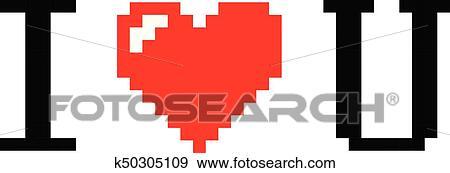 Pixel Art Coeur Je Taime Couleur Icône Valentin Clipart