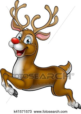 clipart of reindeer christmas cartoon character k41571573 search rh fotosearch com clipart of santa and reindeer clipart of reindeer face