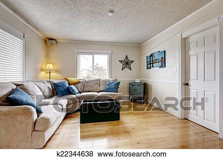 Immagini - soggiorno, con, beige, divano, blu, cuscini k22344638 ...