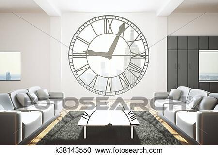 Galleria di illustrazioni soggiorno con orologio finestra