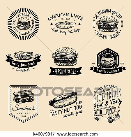 Clip Art of Vector vintage fast food logo set. Retro quick meal ...