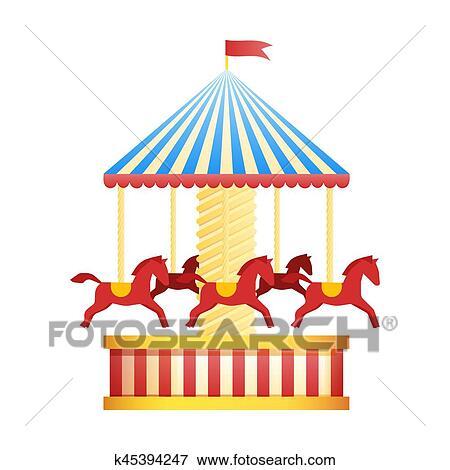 Carrousel Dessin clipart - vendange, manège, carrousel, icône, foire, symbole., parc
