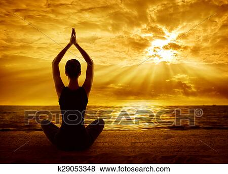 pictures of yoga meditation concept woman silhouette meditating in