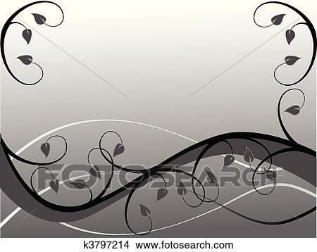 Clipart - a, schwarz weiß, abstrakt, blumen-, hintergrund, abbildung ...