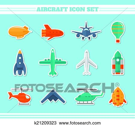 Aircraft icons stickers Clipart