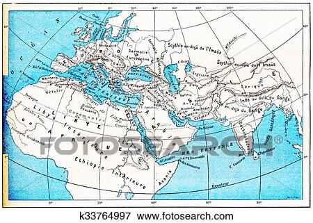 A Picture Of The World Map.Ancient World Map Of Europe Asia And Africa Vintage Engraving Standartinė Iliustracija