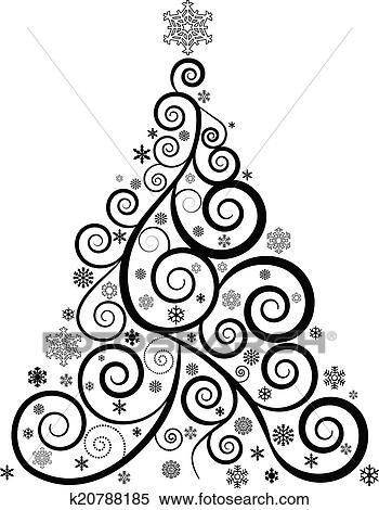 clipart aufwendig weihnachtsbaum k20788185 suche clip art illustration wandbilder. Black Bedroom Furniture Sets. Home Design Ideas